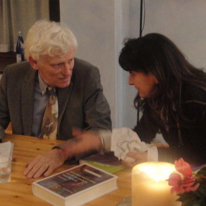 Enrica Ligi con Ad Dekkers alla presentazione del libro Psicoterapia ad artemedica